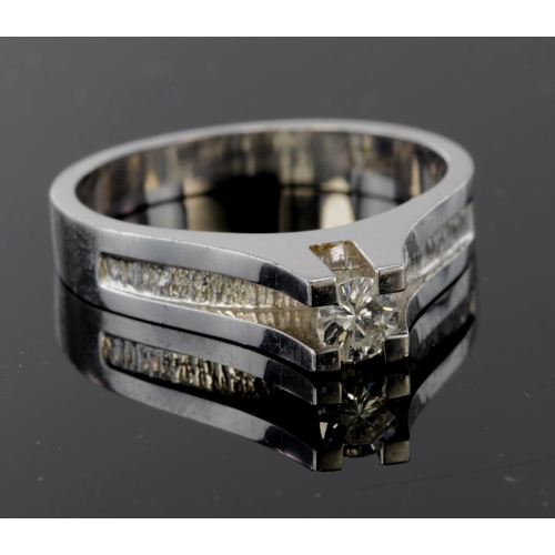 23 - 18ct White Gold diamond set Ring approx 0.20ct weight size O weight 5.7g...