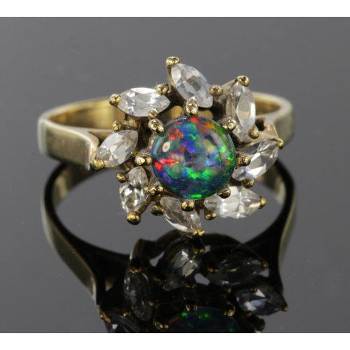 28 - 9ct Gold Opal doublet and CZ Ring size N weight 4.1g...
