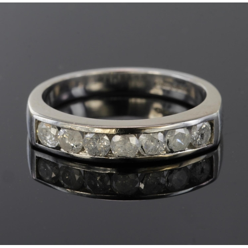 29 - 18ct White Gold seven stone channel set Diamond Ring size N weight 5.0g...