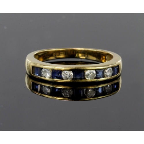 3 - 18ct yellow gold half eternity ring set with alternate priincess cut sapphires and round diamonds in...