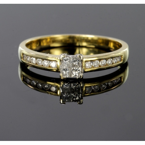 35 - 9ct gold ring set with four tension set princess cut diamonds and diamond set shoulders, total diamo...
