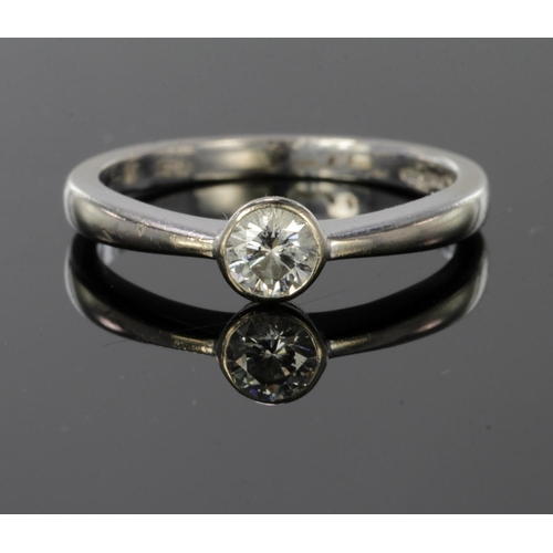 36 - 18ct white gold diamond solitaire ring, diamond weight calculated as approx. 0.33ct, finger size L, ...