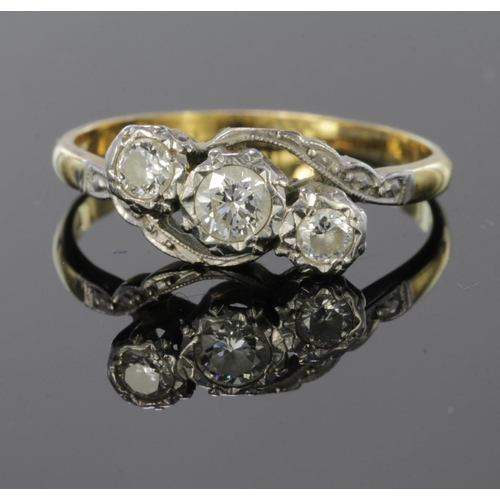 37 - 18ct and platinum diamond three stone wrapround design ring, approx. 0.45ct, Finger size Q weight 2....