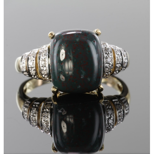 4 - 9ct Gold Bloodstone and Diamond QVC Ring size S weight 4.8g...