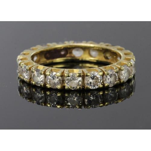 45 - 18ct diamond set full eternity ring, total diamond weight approx. 1.8ct. Finger size K, weight 2.9g...
