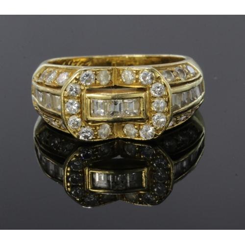 46 - 18ct yellow gold diamond set dress ring, finger size K, weight 5.9g...