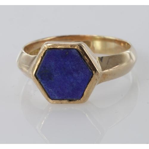 48 - 9ct Gold Lapis Lazuli Ring size V weight 5.4g...