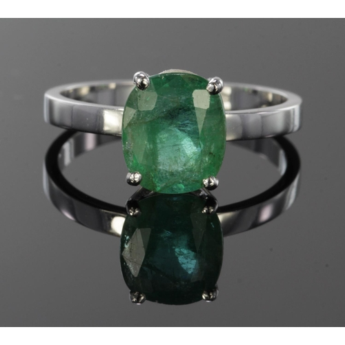 5 - 18ct White Gold Ring set with 1.99ct Emerald size L weight 2.8g comes with IDRC certificate for ston...