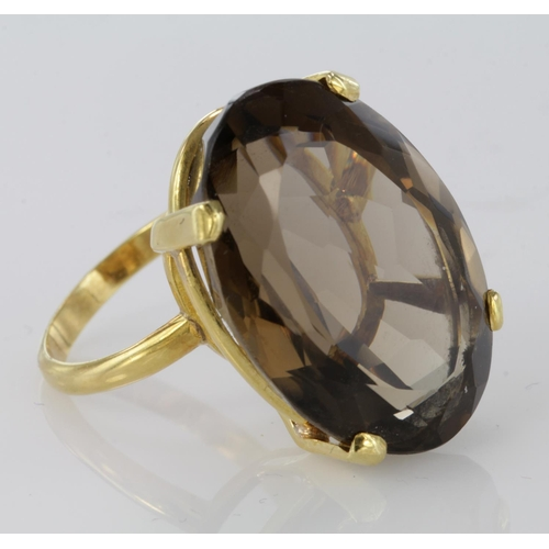 50 - 18ct Gold Large Smoky Quartz Ring size N weight 13.1g...
