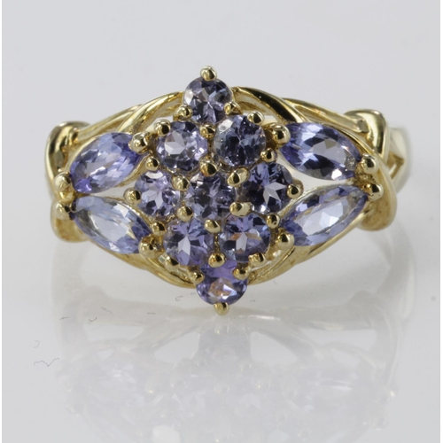 53 - 9ct Gold QVC Tanzanite set Ring size R weight 4.3g...