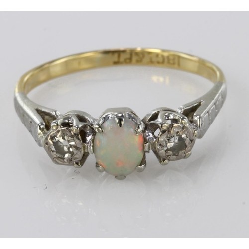54 - 18ct Gold and Platinum Opal and Diamond Ring size I weight 2.2g...