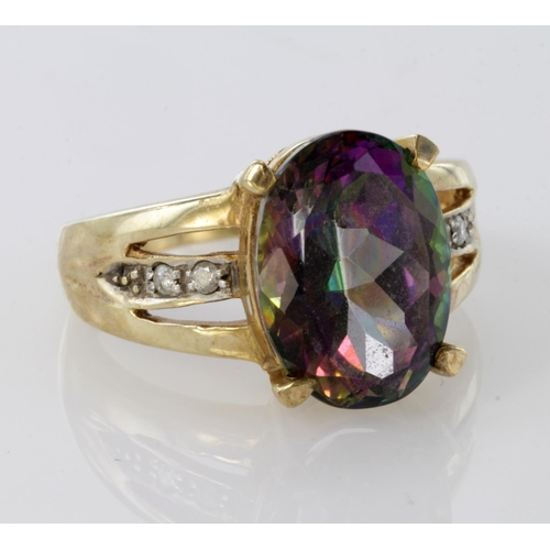 55 - 9ct Gold Mystic Topaz Ring with stone set shoulders size O weight 6.5g...