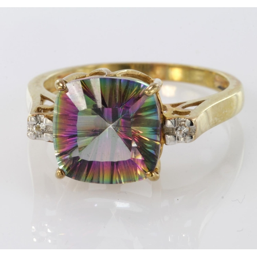 56 - 9ct Gold Mystic Topaz and Diamond set Ring size O weight 3.3g...