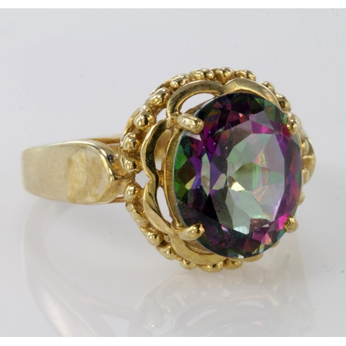 57 - 9ct Gold Mystic Topaz Ring size O weight 5.8g...