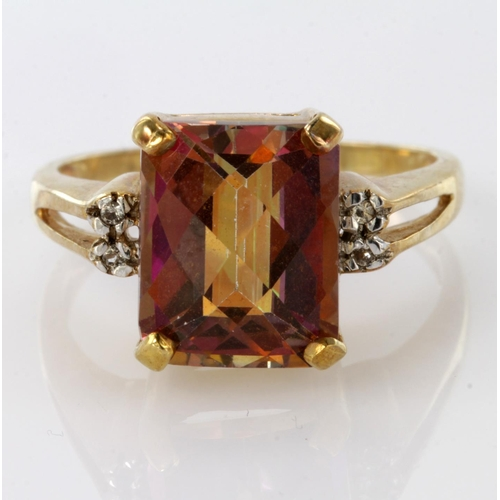 58 - 9ct Gold Mystic Topaz Ring with diamond shoulders size O weight 4.9...