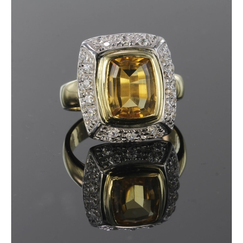 6 - 18ct Gold Citrine and White Sapphire Ring size N weight 8.1g...