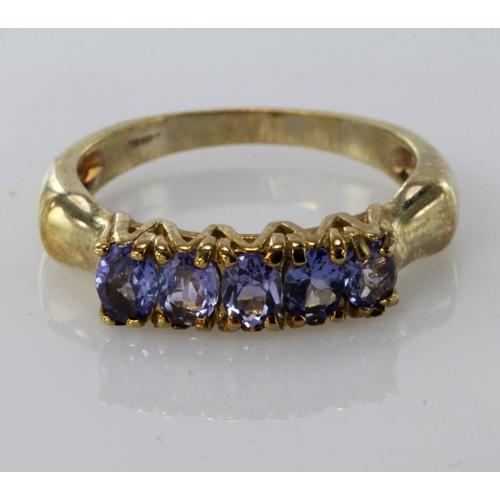 60 - 9ct Gold Tanzanite set Ring size O weight 3.4g...