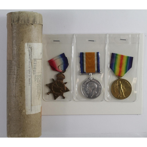 16 - 1915 Star Trio and Casualty Scroll in tube for 17273 L/Cpl C Agass Essex Regt. KIA 28/3/1918 with th...