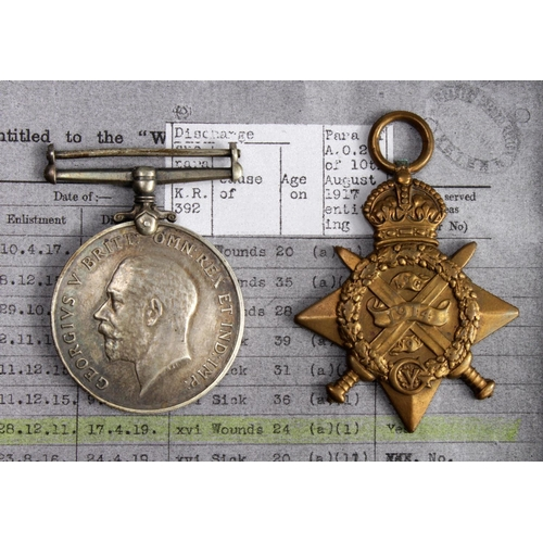 2 - 1914 Star and BWM to 3-9657 Pte W F Chivers 2/Wilts Regt. Entitled to the Aug-Nov clasp, and a Silve...
