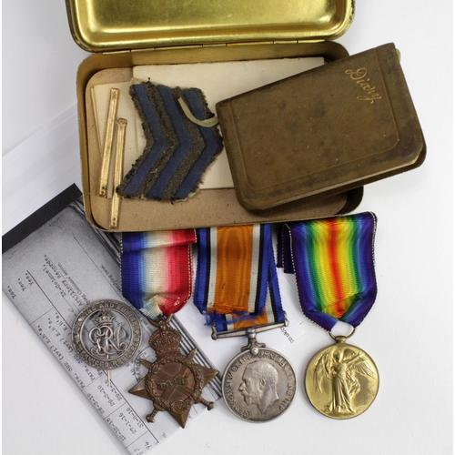25 - 1915 Star Trio to 52017 Gnr G Bullock RGA. With Silver War Badge B152884. Plus his 1914 Christmas Ti...