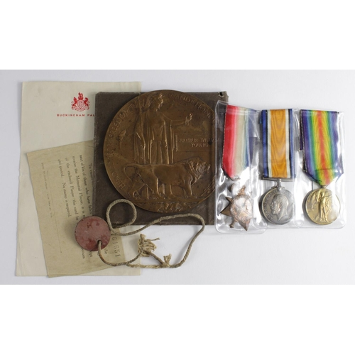 33 - 1915 Star Trio + Death Plaque with Folder to 12143 L.Cpl A W Young Essex Regt. With single ID Tag. K...
