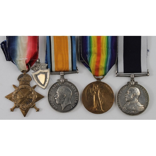 38 - 1915 trio with RN Long Service medal to 20568 A C Branton Ord RN HMS Pembroke comes with silver 1927...