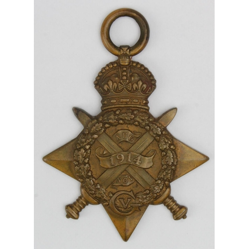 4 - 1914 Star to 6128 Pte C J Wagstaffe 4/D.Gds. Entitled to the Silver War Badge for Wounds.  (1)...