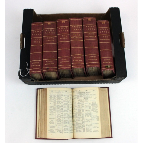 49 - Army Lists: A complete run of 7x monthly lists from June to December 1909. The spines are marked in ...