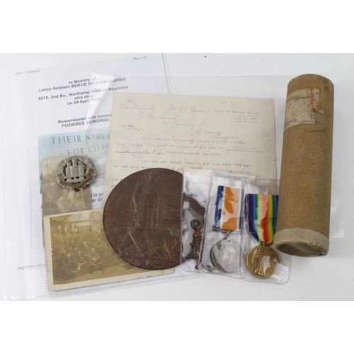 5 - 1914 Star trio with memorial plaque, memorial scroll, photos, documents etc., to L/Sgt 8515 Bertie W...