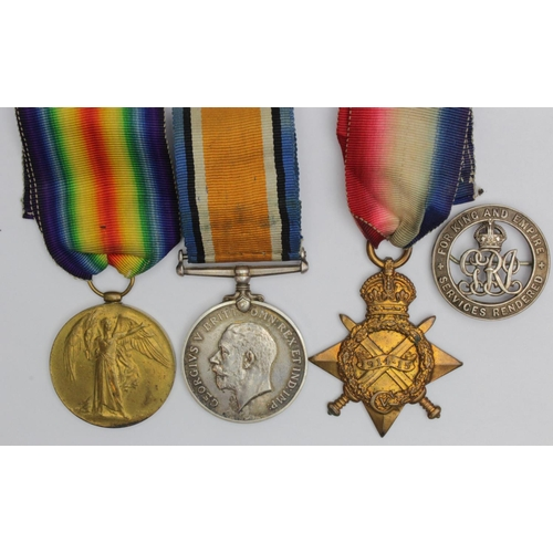 24 - 1915 Star Trio to 3.9095 Pte E Ward Suffolk Regt. With Silver War Badge 202935, discharged with