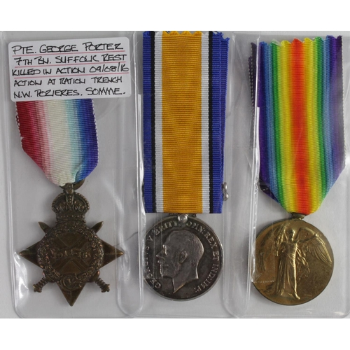 26 - 1915 Star Trio to 9120 Pte G Porter Suffolk Regt. KIA 9th August 1916 with the 7th Bn. Born Flixton,...
