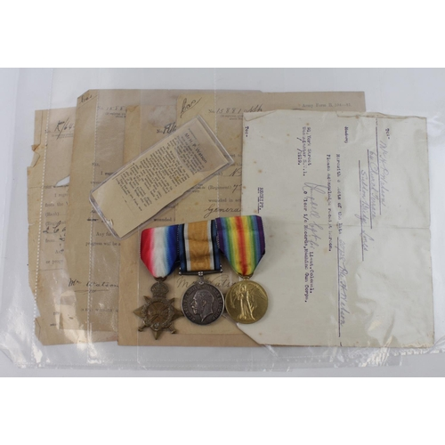 36 - 1915 trio to 15881 Pte H P Watson Norfolk Regt also served MGC, comes with four casualty telegrams i...