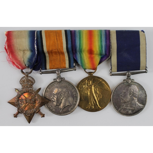 37 - 1915 trio with ERVII Naval Long Service Medal to 158421 J W Evans C.P.O RN HMS Amphitrite....