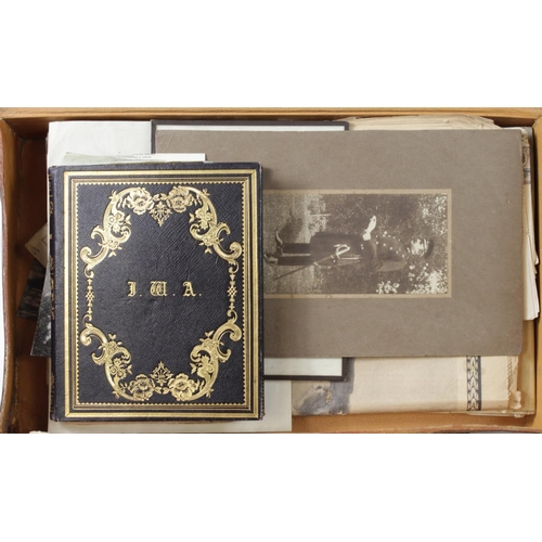48 - Armstrong Family interesting suitcase, includes photographs, all Officers family, includes photograp...