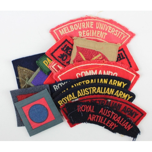 60 - Australian Cloth Formation Signs & Shoulder Titles Badges WW2 and later all in good condition. (appr...
