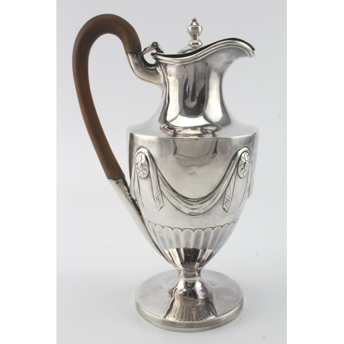 718 - Adam style silver hot water jug with cancelled marks to the base and London Assay Office marks for L...