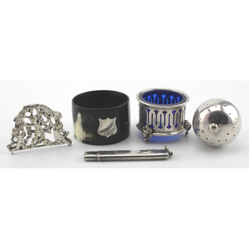 748 - Four silver items and one silver mounted cow horn napkin ring. The also includes an unmarked silver ...