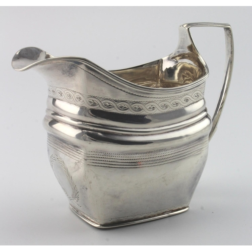 753 - George III silver cream jug hallmarked for London 1804. (Maker's mark rubbed). Weighs 4 oz approx....