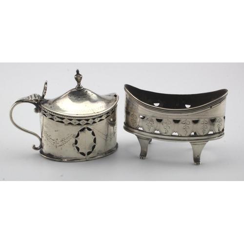 754 - George III silver mustard pot and salt, the salt is missing it's liner. Makers marks are rubbed and ...