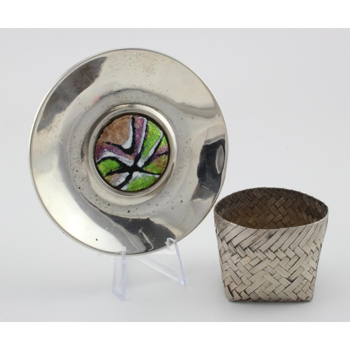 766 - Mexico silver sterling basket and a Spanish silver & enamel .915 grade dish. The dish was made in Ba...