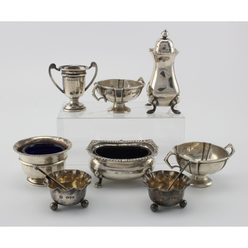 770 - Mixed lot of seven silver cruet items and one small silver prize cup including two small silver Vict...