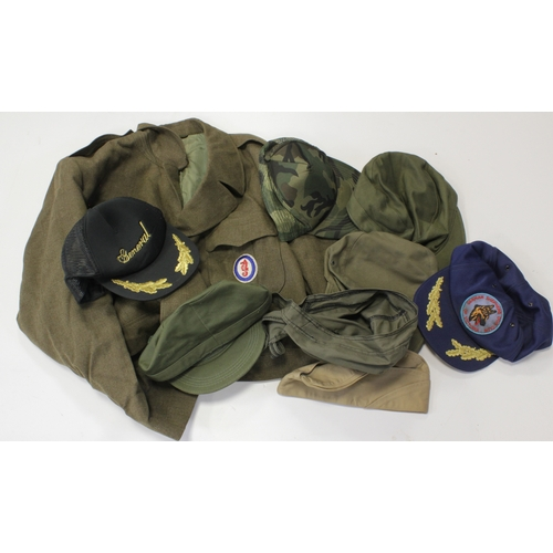 53 - American Ike Jacket with combined Ops shoulder badge and a mix of caps in a tub....