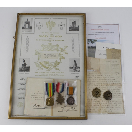 10 - 1915 Casualty Trio to 42305 Spr. Cpl. Walter William Beard RE. Comes with scroll, photos, documents ...