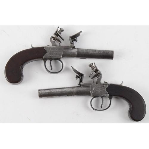 1502 - 18th century pair of flint lock box lock pocket pistols signed James Wallis, gun makers to His Majes...