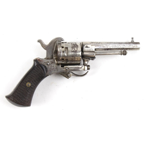 1510 - 19th century pin fire pocket revolver, nice clean gun with engraved frame and cylinder and 90% nicke...
