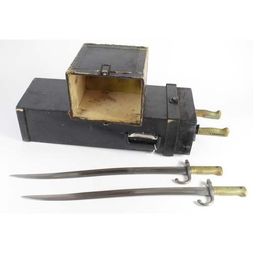 1515 - Bayonets: A truly unique carrying box containing 3x good Chasspot Model 1866 Sabre Bayonets in their...