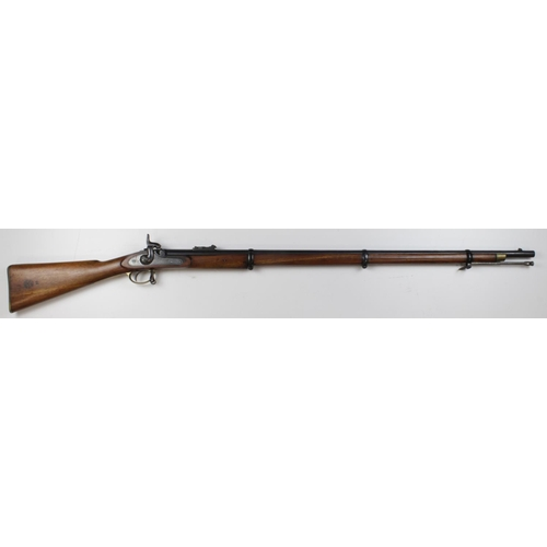 1524 - Enfield 19th century three band Volunteer Military Rifle with plain lock, stock markings and retaile...