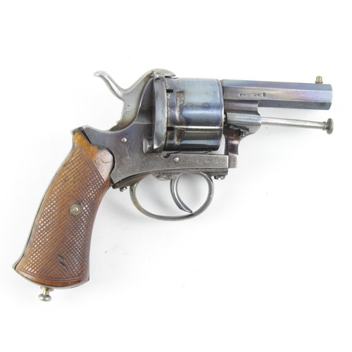 1553 - Revolver large bore pinfire in superb condition with much original blueing with various stampings to...