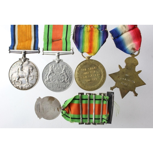 23 - 1915 Star Trio to 1518 Pte W A Patten Essex Regt. Served with 4th Bn. Defence Medal and Safe Driving...