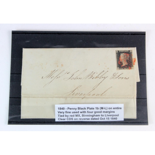 2375 - GB - 1840 Penny Black Plate 1b (M-L) on entire. Very fine used with four good margins. Tied by red M...